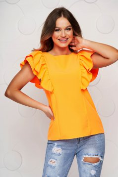 Narancssárga bő szabású fodros női blúz teljesen kivágott hátrésszel