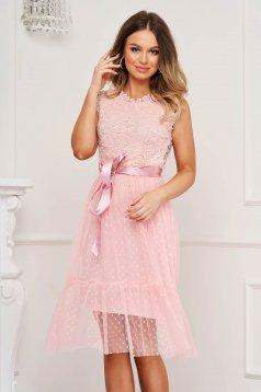 Pink midi alkalmi ruha harang alakú gumirozott derékrésszel