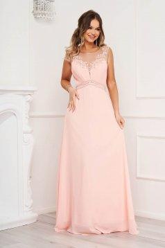 Pink ujjatlan alkalmi hosszú harang ruha virágos hímzéssel