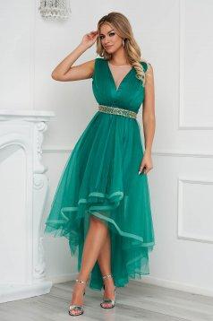 Zöld aszimetrikus alkalmi harang ruha tüllből eltávolítható övvel