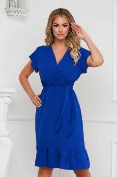 Fodros midi kék ruha vékony anyagból harang alakú gumirozott derékrésszel
