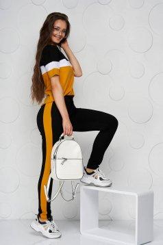 Mustársárga sportos szettek pamutból készült zsebes