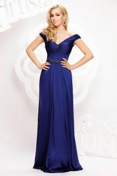 Kék alkalmi hosszú harang ruha szaténból