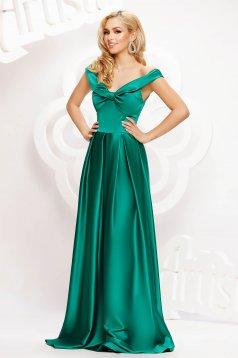 Zöld hosszú harang ruha szaténból masni alakú kiegészítővel