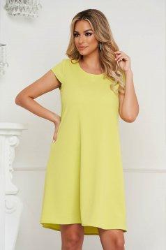 Rövid bő szabású sárga StarShinerS ruha gyűrött anyagból kivágott hátrésszel