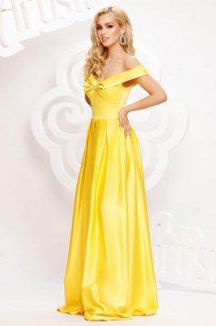 Sárga hosszú harang ruha szaténból masni alakú kiegészítővel