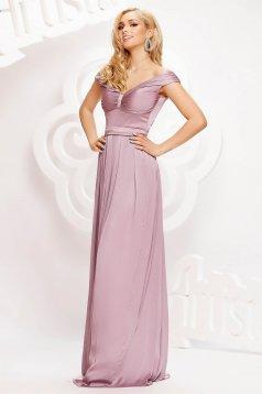 Púder rózsaszínű alkalmi hosszú harang ruha szaténból