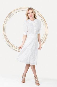 Fehér bő ujjú elegáns midi harang ruha vékony anyagból
