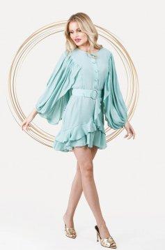 Mentazöld bő ujjú elegáns rövid ruha harang alakú gumirozott derékrésszel vékony anyagból
