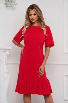 Rövid ujjú a-vonalú piros midi ruha vékony anyagból fodrokkal a ruha alján