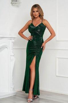 Zöld pántos mellrésznél szivacsos alkalmi hosszú ceruza ruha