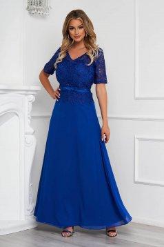 Kék alkalmi hosszú muszlin harang ruha csipkés anyagból