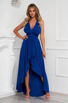 Kék ruha aszimetrikus alkalmi harang rugalmas anyagból teljesen kivágott hátrésszel