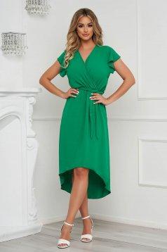 Zöld ruha midi aszimetrikus harang alakú gumirozott derékrésszel vékony anyagból