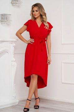 Piros ruha midi aszimetrikus harang alakú gumirozott derékrésszel vékony anyagból