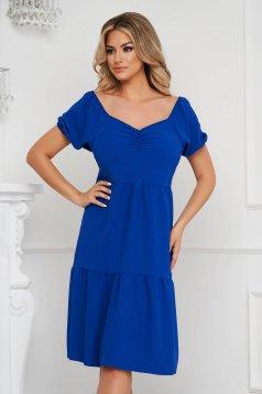 Kék ruha midi bő szabású ejtett vállú vékony anyag