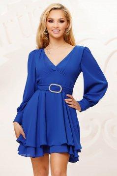 Kék rövid bő ujjú alkalmi muszlin harang ruha