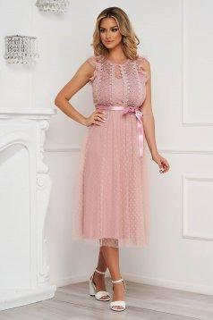 Púder rózsaszínű ujjatlan harang alkalmi ruha midi tüllből