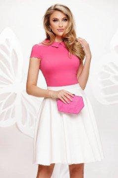 Pink irodai szűk szabású női blúz rugalmas anyagból rövid ujjú fodros gallér