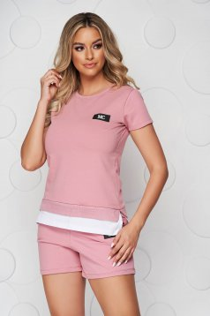 Púder rózsaszínű sportos szettek pamutból készült női rövidnadrág női póló