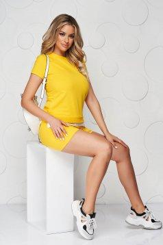 Sárga sportos szettek pamutból készült női rövidnadrág női póló