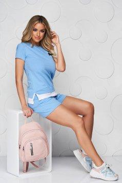 Világoskék sportos szettek pamutból készült női rövidnadrág női póló