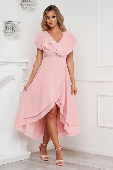 Púder rózsaszínű StarShinerS alkalmi ruha muszlin anyagból, fodros aszimetrikus harang alakú szoknyarésszel