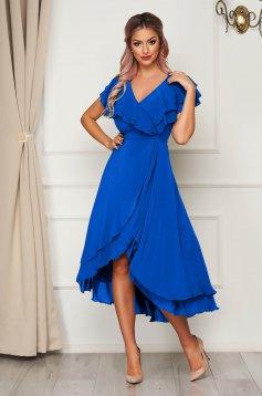 Kék StarShinerS hosszú alkalmi ruha muszlin anyagból, fodros felsőrésszel