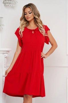 Fodros midi bő szabású piros ruha vékony anyagból