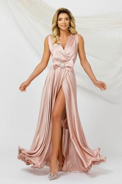 Púder rózsaszínű ruha hosszú harang ujjatlan muszlin szatén anyagból