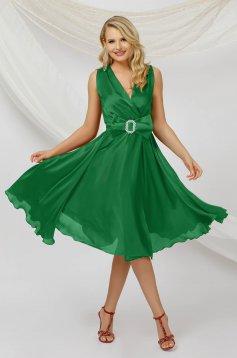 Alkalmi midi harang zöld ruha muszlin anyagból, ujjatlan, eltávolítható övvel