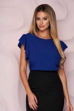 Kék StarShinerS bő szabású fodros irodai női blúz vékony anyagból