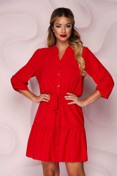 Piros rövid harang alakú ruha gumirozott derékrésszel muszlinból