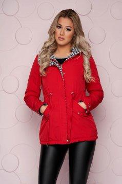 Piros kifordítható szűkített midi dzseki vízlepergető anyagból eltávolítható kapucnival