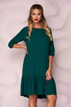 Sötétzöld, egyenes szabású fodros aljú muszlin ruha