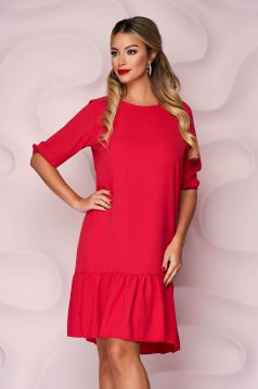 Fukszia, egyenes szabású fodros aljú muszlin ruha