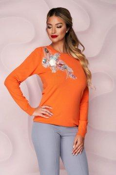 Narancssárga bő szabású kötött női blúz 3d virágos díszítéssel