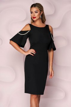 Fekete StarShinerS ruha kivágott vállrésszel gyöngy díszítéssel elegáns
