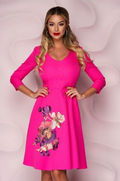 Fukszia StarShinerS alkalmi harang ruha vékony enyhén rugalmas anyagból virágos hímzéssel