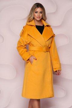 Mustársárga casual bő szabású hosszú kabát vastag szövetből eltávolítható övvel