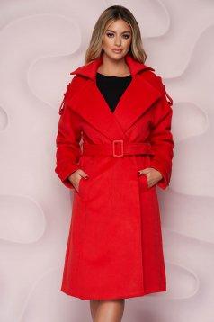 Piros casual bő szabású hosszú kabát vastag szövetből eltávolítható övvel