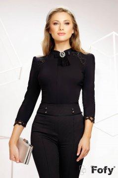 Fekete női ing rugalmas pamut irodai bross kiegészítővel hímzett betétekkel flitteres díszítéssel