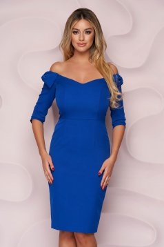 Kék StarShinerS alkalmi midi ceruza ruha v-dekoltázzsal, masni alakú kiegészítővel enyhén rugalmas szövetből