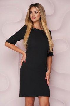 Fekete egyenes irodai rövid StarShinerS ruha enyhén rugalmas, finom tapintásu anyagból
