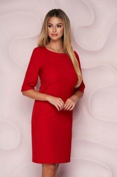 Piros egyenes irodai rövid StarShinerS ruha enyhén rugalmas, finom tapintásu anyagból