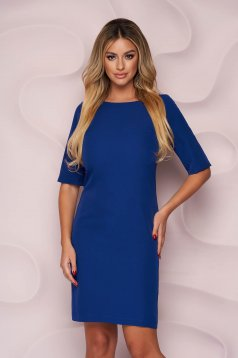 Kék egyenes irodai rövid StarShinerS ruha enyhén rugalmas, finom tapintásu anyagból