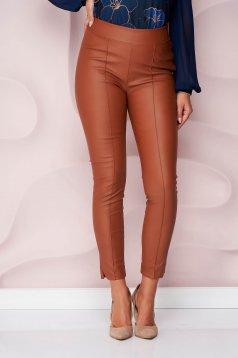 StarShinerS barna műbőr casual szűk szabású magas derekú oldalt cipzárral zárható nadrág