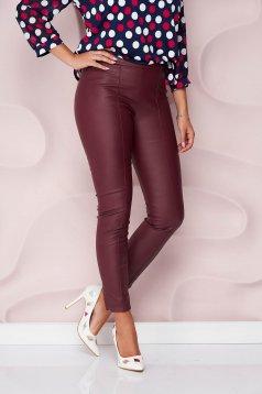 StarShinerS burgundy műbőr casual szűk szabású magas derekú oldalt cipzárral zárható nadrág