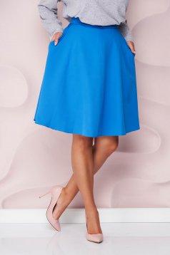Kék StarShinerS magas derekú midi harang szoknya zsebekkel irodai enyhén rugalmas szövetből