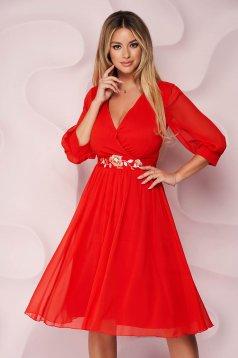 Piros alkalmi midi StarShinerS harang alakú ruha hímzett eltávolítható övvel muszlin gyűrött anyagból